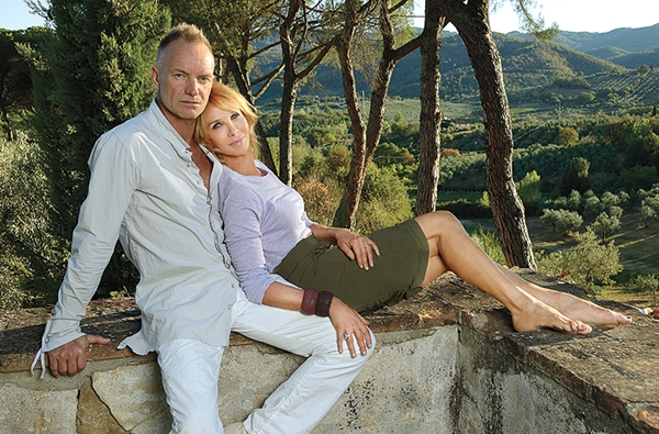 Sting and his wife Trudie Styler at Il Palagio.